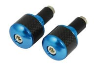 Blue Bar End Weights with Carbon Fibre Inset