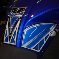 Yamaha YZF-R125 Blue / White Motografix Knee Number Board (NY015B) and Tank Protector (TY017B supplied seperately)