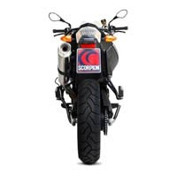 BMW F800GS Scorpion Stainless Steel Oval Factory Exhaust (with Stainless Steel oulet)