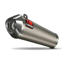 Scorpion Satin Titanium Power Cone Exhaust End Can / Silencer (with Stainless Steel outlet