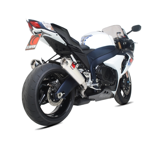 Suzuki GSX-R1000 Scorpion Twin Stainless Steel Power Cone Exhaust End Cans / Silencers (with Stainless Steel outlet)