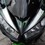 Kawasaki Z1000SX White / Black / Green Motografix Front Fairing Number Board 3D Gel Protection System (NK020G shown fitted)