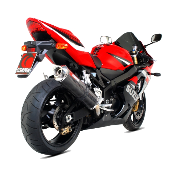 Suzuki GSXR750 (2000 to 2005) Scorpion Carbon Fibre Factory Exhaust End Can / Silencer (with Stainless Steel Outlet)