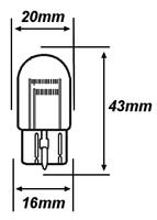 Capless Stop / Tail Bulb - 12 Volt 21/5 Watt dimensions